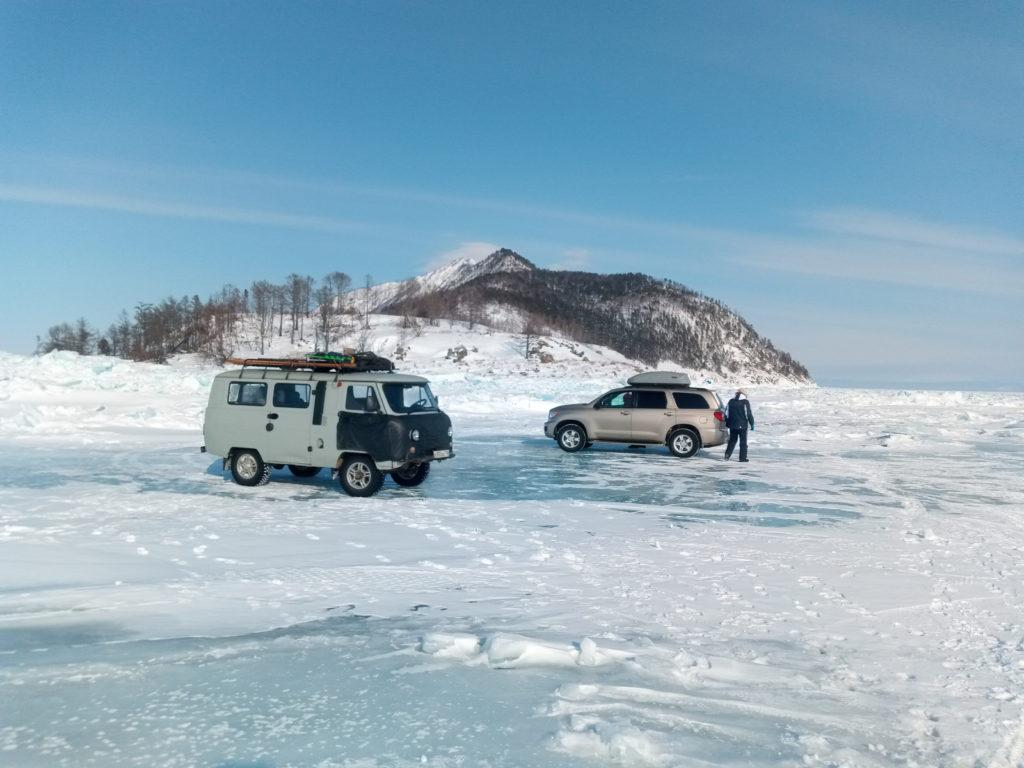 Пересечение Байкала по льду в самом широком месте